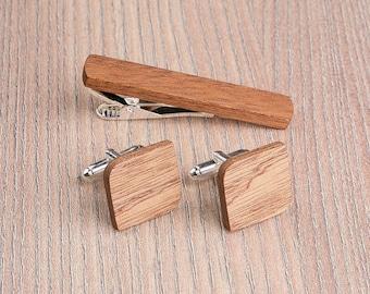 Wooden tie Clip Cufflinks Set Wedding Cufflinks. Sapele Tie Clip Cufflinks Set. Mens Real Wood Cuff Links, Groomsmen Cufflinks set.