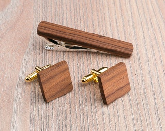 Wooden tie Clip Cufflinks Set Wedding Rosewood Square Cufflinks. Boyfriend gift, Personalization gift. Wood Tie Clip Cufflinks Groomsmen Set