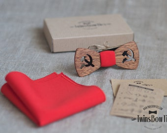 Mens unique wooden bow tie Moscow Slim + pocket square. Real wood and fabric. Men Accessories. 100% hand made.