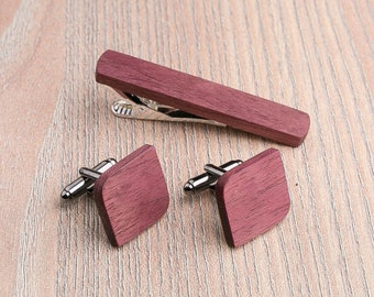Boyfriend gift, Personalization gift Wooden tie Clip Cufflinks Set Wedding Purpleheart Cufflinks,Fathers day gift.  Groomsmen Cufflinks set.