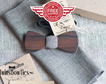 Mens wooden bowtie Kennedy Classic + pocket square. Man wood bow tie. Real wood and fabric. Men Accessories. 100% hand made.