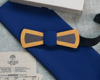 Double Wood bowtie  + pocket square.  Any personal engraving wooden bow ties. Men Accessories. 100% hand made. Best xmas / bday gift.