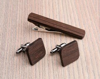 Wooden tie Clip Cufflinks Set Wedding Wenge Groom Cufflinks. Wood Tie Clip Cufflinks Set. Mens Wood Cuff Links, boyfriend gift, father day