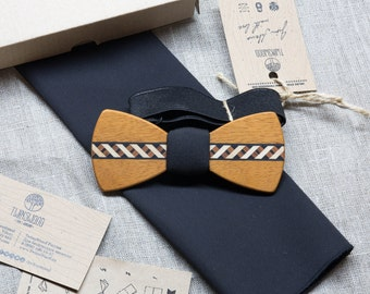 FREE SHIPPING! Wood bowtie  Multi-Wood veneer + pocket square. Personal engraving FREE Men Accessories. 100% hand made. Best xmas /bday gift