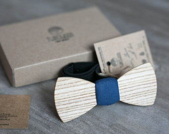 Wooden bow tie, white ash wood bow tie.  Navy wooden tie, wedding Groomsmen wood bowtie  gifts, Boyfriend gift, Gifts for Him, Personalized