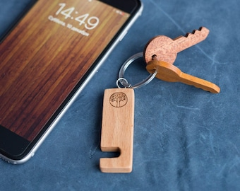 Beech Wood smartphone stand keychain. Real wood. Any engraving 2 sides. Keyring  Stand for iPhone, Samsung and other. Best gift.