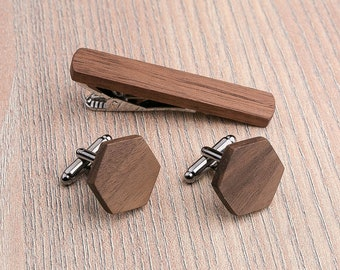 Wood Cufflinks and tie clip. Set Wedding Walnut Hexagon Cufflinks. boyfriend gift,  father day  Wood Cuff Links, Groomsmen Cufflinks set.
