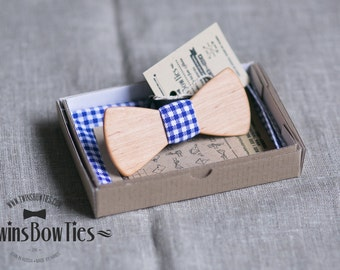 Wood bowtie Danila Classic + pocket square. Personal engraving wooden bow ties. Men Accessories. 100% hand made. Best personal gift.