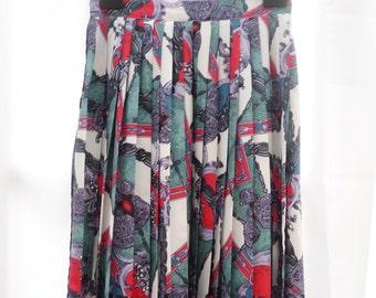"""1980's Vintage Retro Print Fully Pleated Midi Skirt Small 28"""" Waist"""