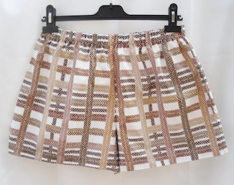 Pure Cotton Brown & White Vintage Check Ladies  Shorts Med - Large