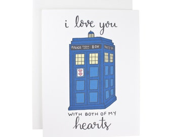 I Love You With Both Of My Hearts greeting card, Doctor Who, I heart heart you, tardis