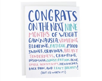 Congrats On The Next Nine Months baby greeting card, funny baby card, new baby, baby girl, baby boy