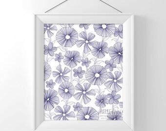 Navy Simple Floral pattern, print, illustration, modern, trendy