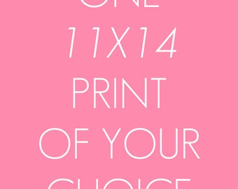 One 11x14 Print, art print, illustration, typography