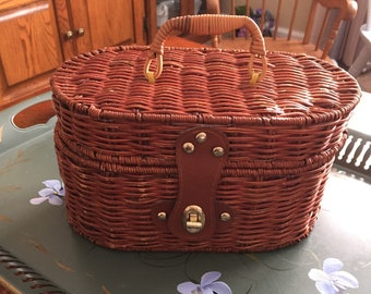 Vintage Adorable Wicker Picnic Basket Purse 1960's Red Gingham