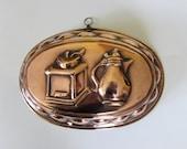 Large Antique Vintage Copper, Lined Jelly Mould Or Wall Hanging Plaque - Coffee Grinder And Jug Decoration MEMsArtShop