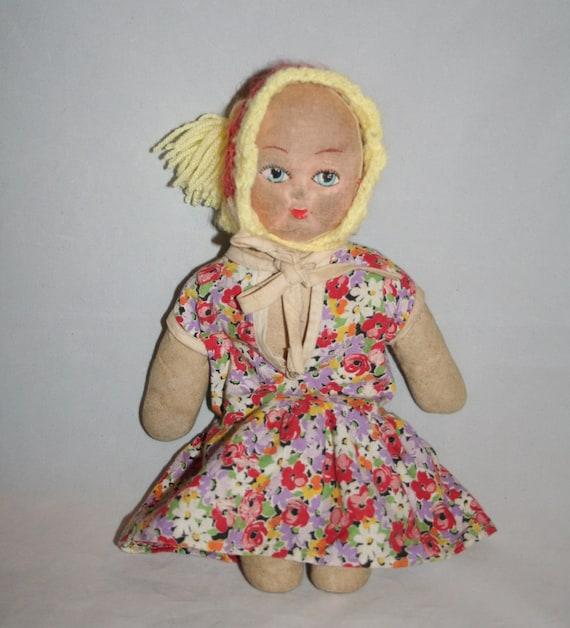 Old Rag Doll With Painted Face /MEMsArtShop.