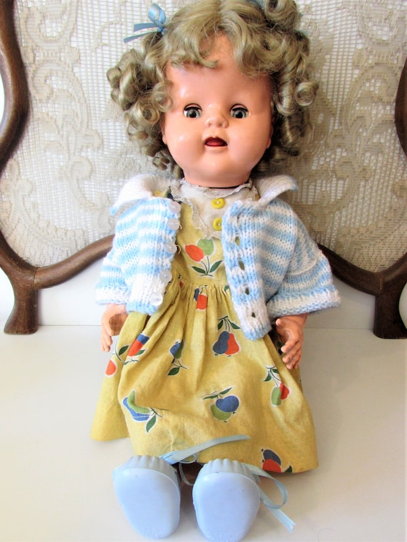 Blue girl vintage walker doll