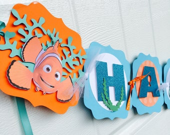 Finding Dory birthday banner, Finding Dory banner, Disney Finding Dory banner, Finding Nemo Banner, Nemo birthday banner