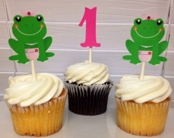 Frog Cupcake toppers, princess frog cupcake toppers, Spring Frog toppers, Princess Frog toppers, frog toppers
