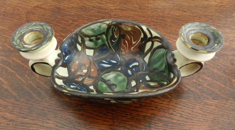 Art Nouveau Candle Holder by K\u00e4hler Keramik of Denmark