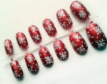 Christmas Fake Nails Etsy