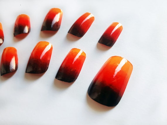 Square Fake Nails, Orange False Nails, Sunset Ombre Nail Art, Artificial  Nail Set, European Short Nails, Handpainted Nail Art Design