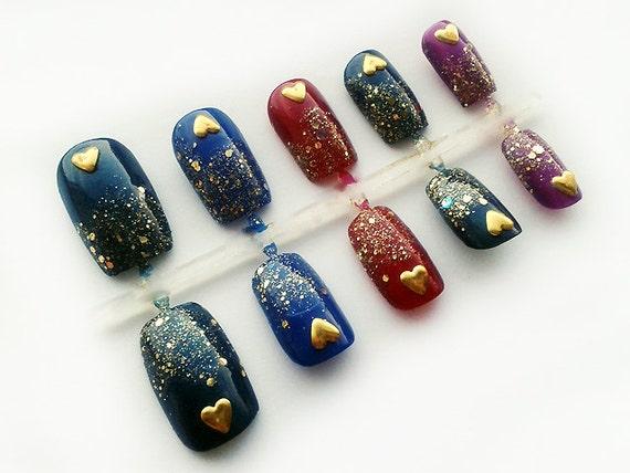 Square Fake Nails Mardi Gras False Nails Multicolor Etsy