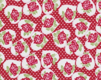 Clearance TANYA WHELAN 1 Yard VALENTINE Rose Collection In Red