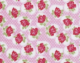 TANYA WHELAN 1 Yard VALENTINE Rose Collection In Pink Free Sprirt Fabric