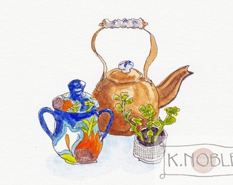 Kitchen Still Life Watercolor Illustration Large Format: Copper Tea Kettle with Delft Accents, Art Deco Sugar Bowl and Succulent