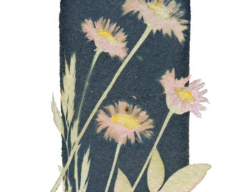 Cyanotype Daisy card, with Watercolor and Pencil