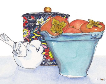 Bowl of Persimmons Card with Vintage Tin and Porcelain Bird