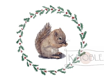 Baby Squirrel Holiday Card with Holly Border