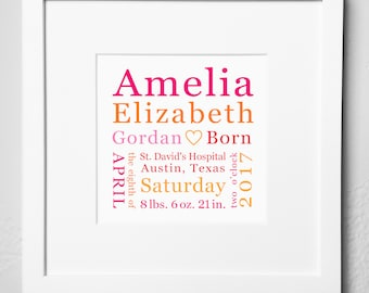 Baby memento etsy more colors personalized birth keepsake print options baby gift negle Image collections