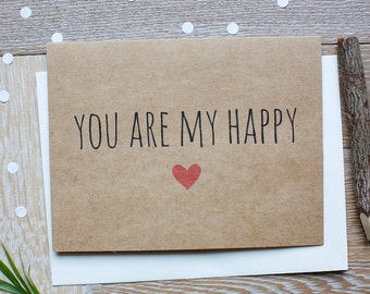 You Are My Happy with Red Heart. Cute I Love You Card for Him or Her.