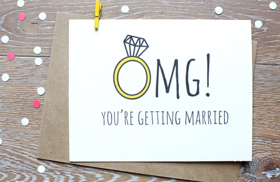 Wedding Personalised Handmade OMG Getting Married Engagement Card For Them