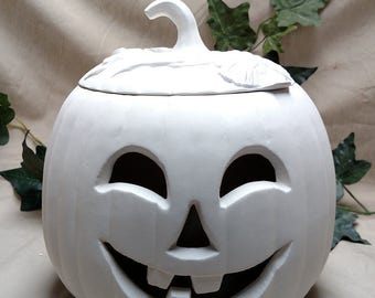 Bisque Large Ceramic Pumpkin, harvest, halloween, jack o lantern, fall, autumn, decoration, keepsake, decor, scarecrow, pumpkins, gourds
