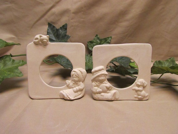 Bisque Picture Frames 4 Total Hand Made Ceramic Pottery
