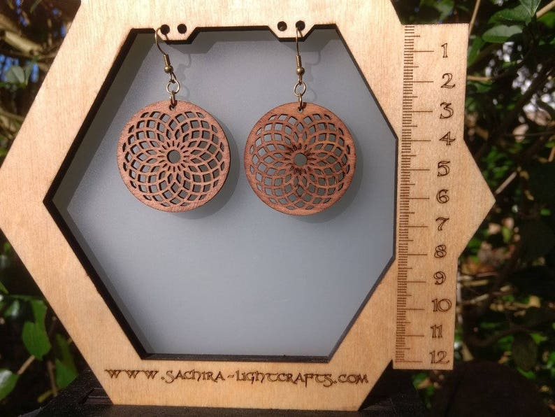 Wood Earrings with Sacred Geometry  handmade wooden design image 0