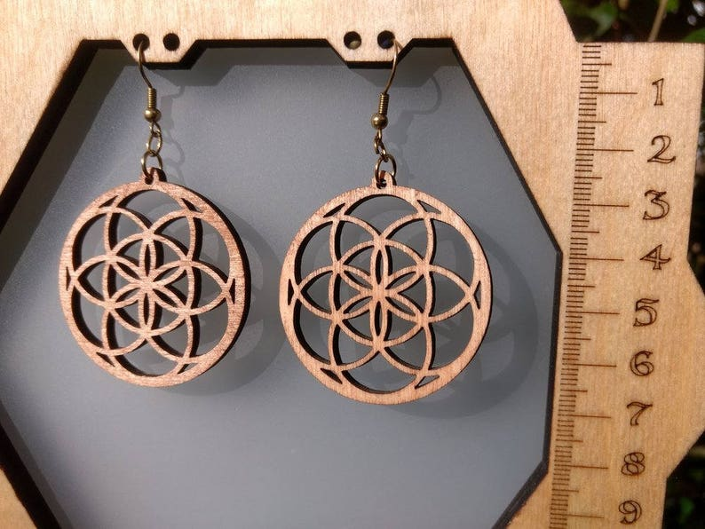 Wood Earrings Seed of Life  handmade Sacred Geometry wooden image 0