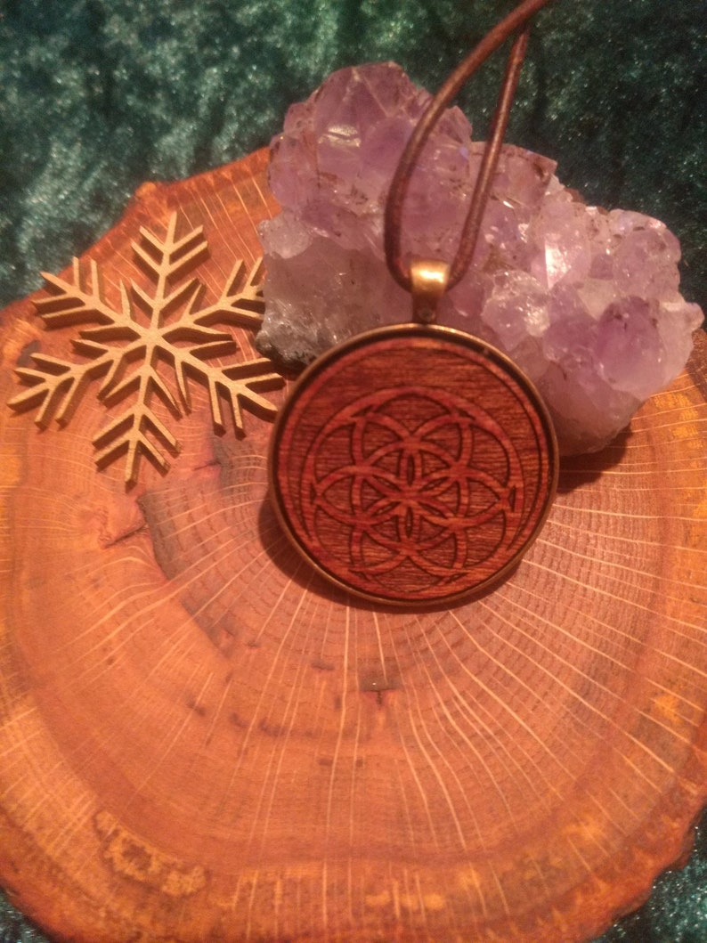 Mahogany necklace with leather cord Seed of Life image 0
