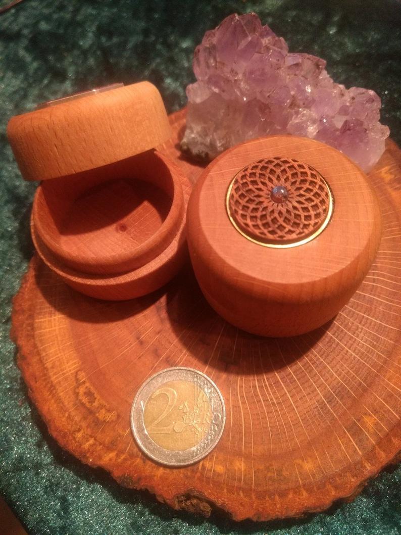 Bamboo box mahogany brass inlay with labradorite wooden image 0