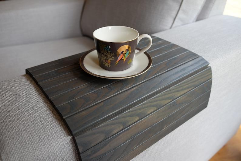 Attirant Sofa Tray Table GREY / Armrest Tray / Sofa Arm Tray / Unique Gift Idea /  Wooden Coffee Table / Tray Table / Wood End Table Tray / Sofa Table