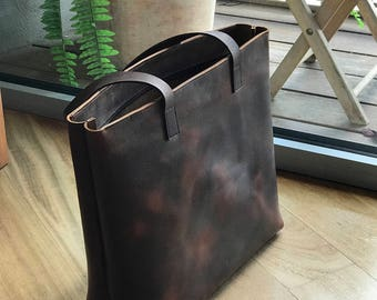 2ee2bbd8e2 Large Dark Brown Leather tote bag.