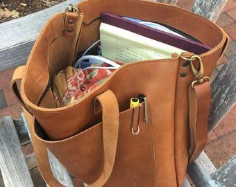 Camel Leather tote bag with large outside pocket. Cap Sa Sal Bag. Handmade. 567b1a5d3bc47