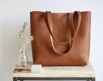 Camel Leather tote bag with sewn handles. Cap Sa Sal Bag. Handmade.