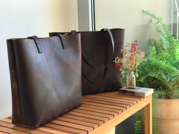 a8ae721084 Large Dark Brown Leather tote bag. Cabas Illa
