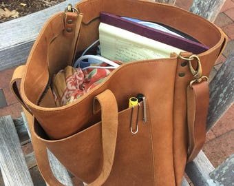Camel Leather tote bag with large outside pocket. Cap Sa Sal Bag. Handmade.
