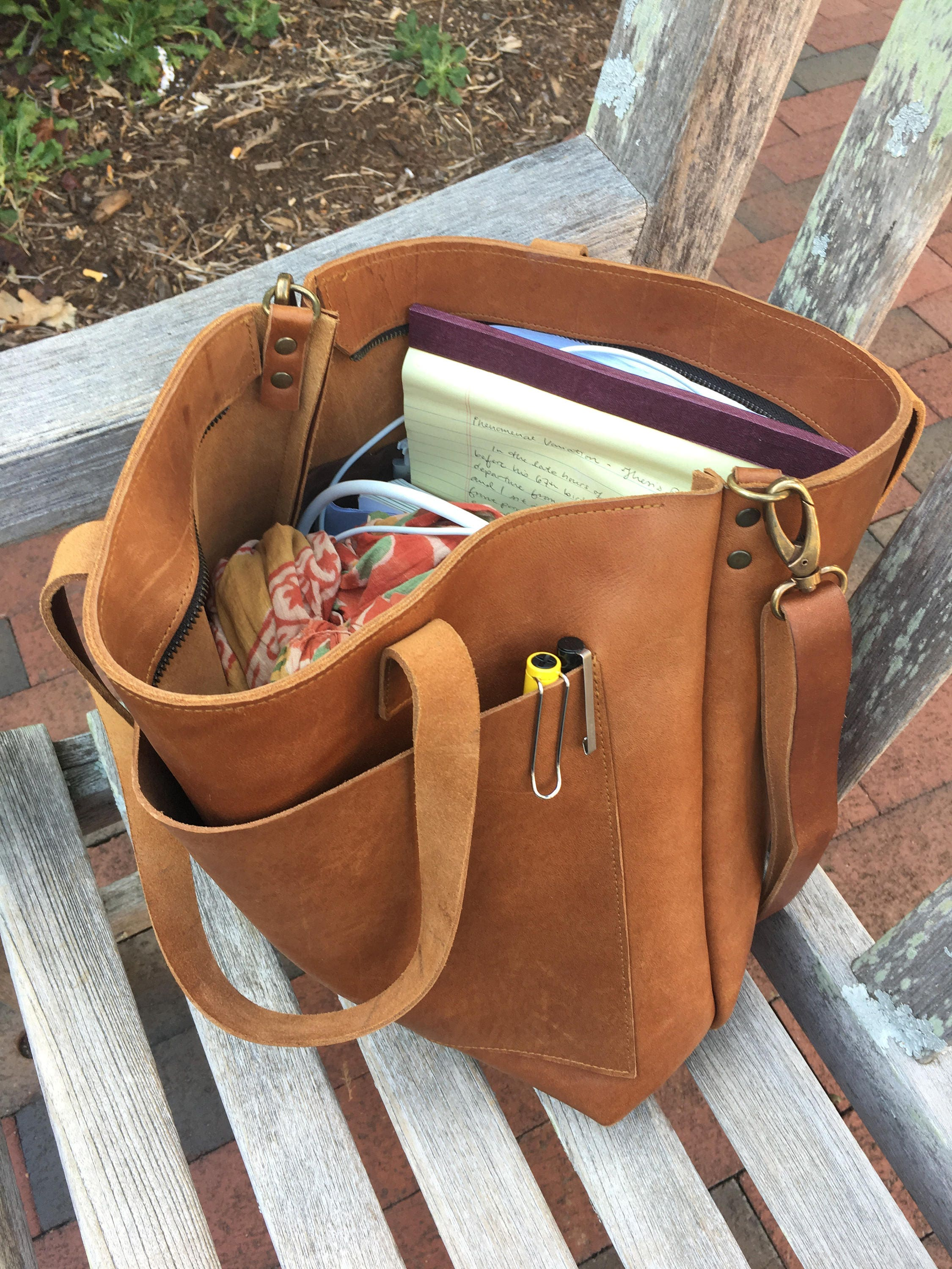 b3a560d8d96 Camel Leather tote bag with large outside pocket. Cap Sa Sal Bag. Handmade.